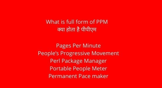 full form of PPM in Hindi