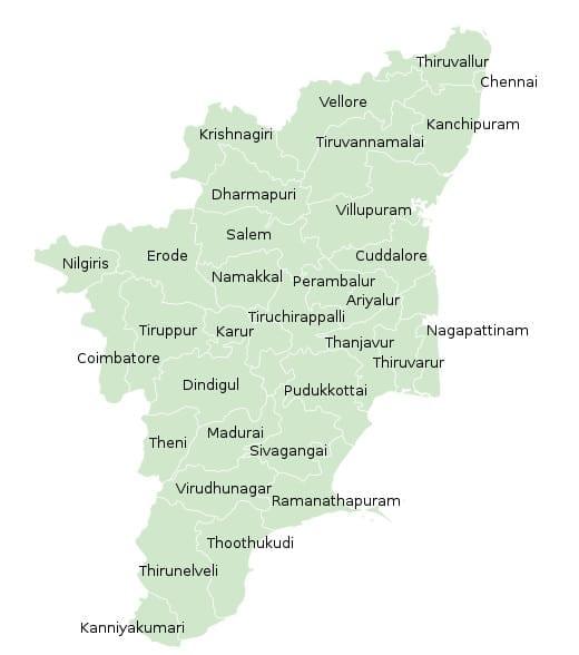 List of Districts of Tamil Nadu in Hindi and English, website, map | तमिल नाडु के सभी जिलों के नाम और उनकी वेबसाइट