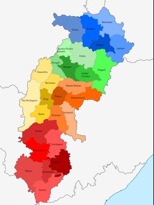 List of Districts of Chhattisgarh in Hindi and English, MAP | छत्तीसगढ़ के सभी जिलों के नाम और उनकी वेबसाइट