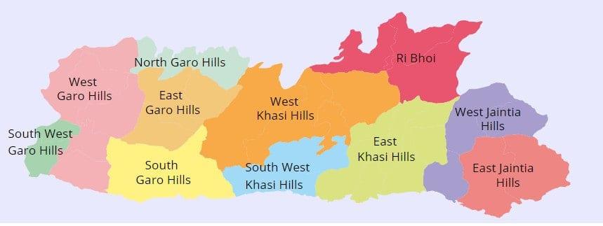 List of Districts of Meghalaya in Hindi and English, website, map | मेघालय के सभी जिलों के नाम और उनकी वेबसाइट