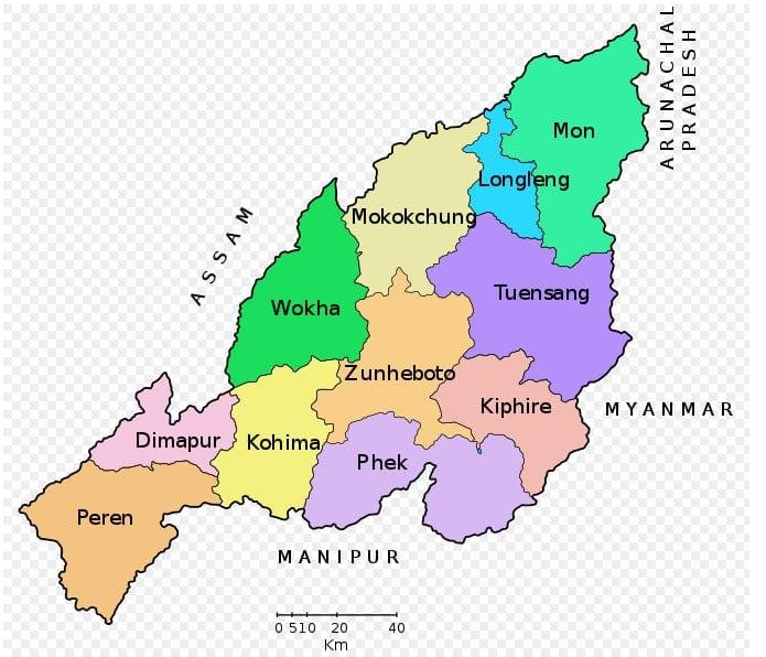 List of Districts of NAGALAND in Hindi and English, website, map   नागालैंड के सभी जिलों के नाम और उनकी वेबसाइट