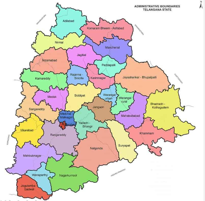 List of Districts of TELANGANA in Hindi and English, website, map | तेलंगाना के सभी जिलों के नाम और उनकी वेबसाइट