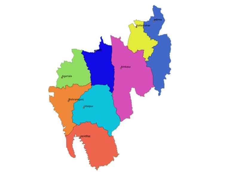 List of Districts of TRIPURA in Hindi and English, website, map | त्रिपुरा के सभी जिलों के नाम और उनकी वेबसाइट
