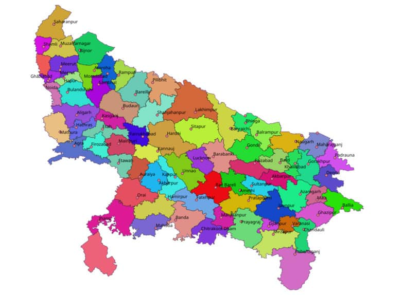 List of Districts of Uttar Pradesh in Hindi and English, website, map | उत्तर प्रदेश के सभी जिलों के नाम और उनकी वेबसाइट