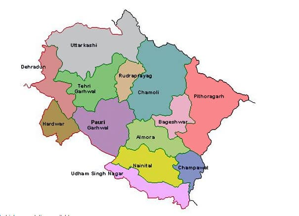 List of Districts of UTTARAKHAND in Hindi and English, website, map | उत्तराखंड के सभी जिलों के नाम और उनकी वेबसाइट