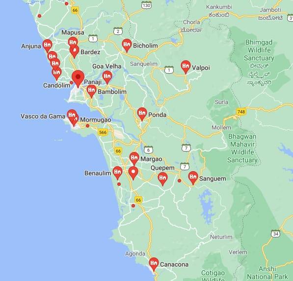 cities in Goa, towns in Goa, गोवा के शहर