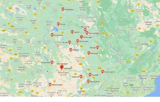 cities in Telangana, towns in Telangana,तेलंगाना के शहर