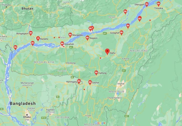 Cities in Assam Towns in Assam असम  के शहर (सिटी), नगर