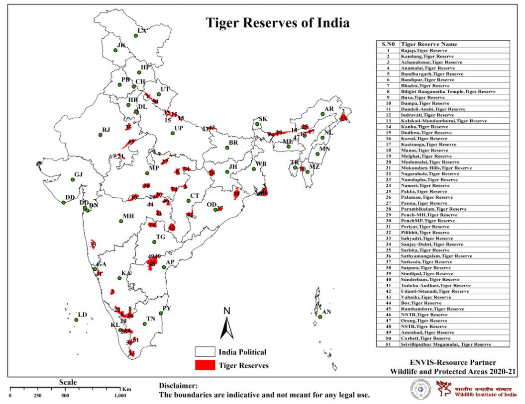 Map showing Tiger Reserves of India    बाघ रिज़र्व   बाघ संरक्षण   Tiger reserves in India